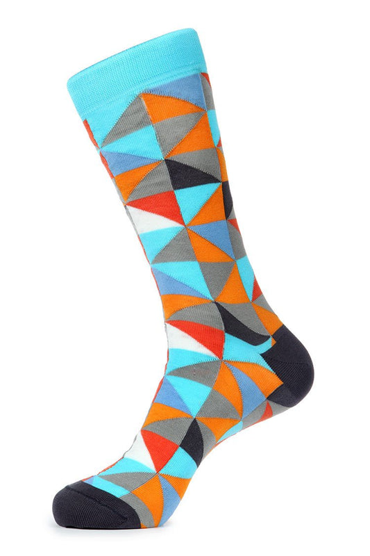 Turquoise Beige Mercerized Socks for Men JL-7031-1 - Jared Lang