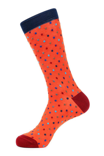 Orange Mercerized Socks for Men JL-7035-3 - Jared Lang