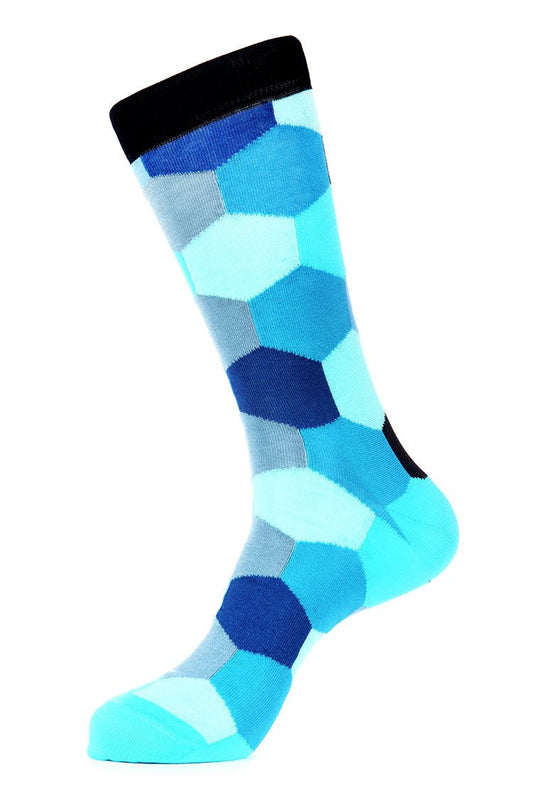 Triple Blue Mercerized Socks for Men JL-7036-5 - Jared Lang
