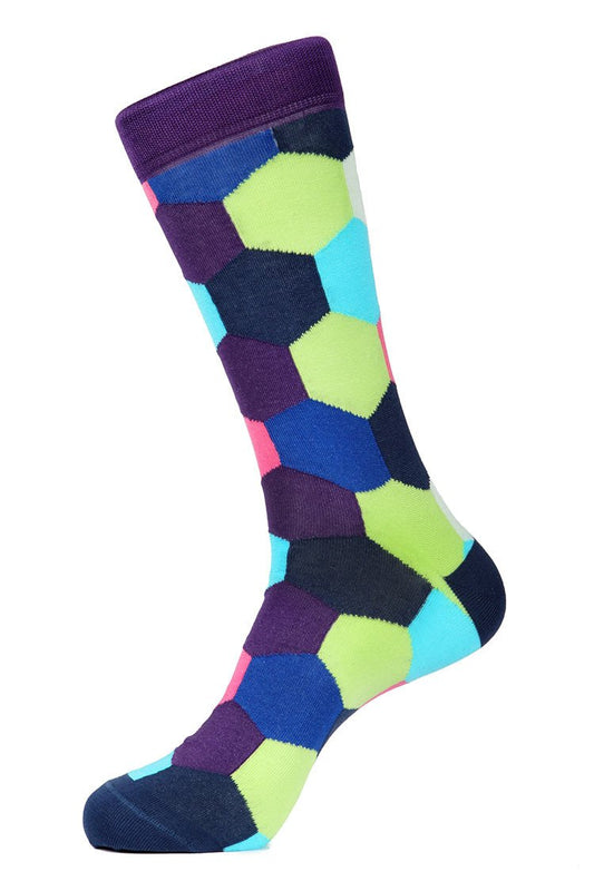 Purple Lime Mercerized Socks for Men JL-7036-6 - Jared Lang