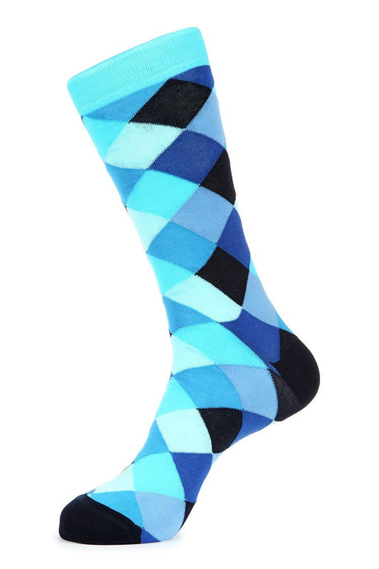 Turquoise Mercerized Socks for Men JL-7039-4 - Jared Lang