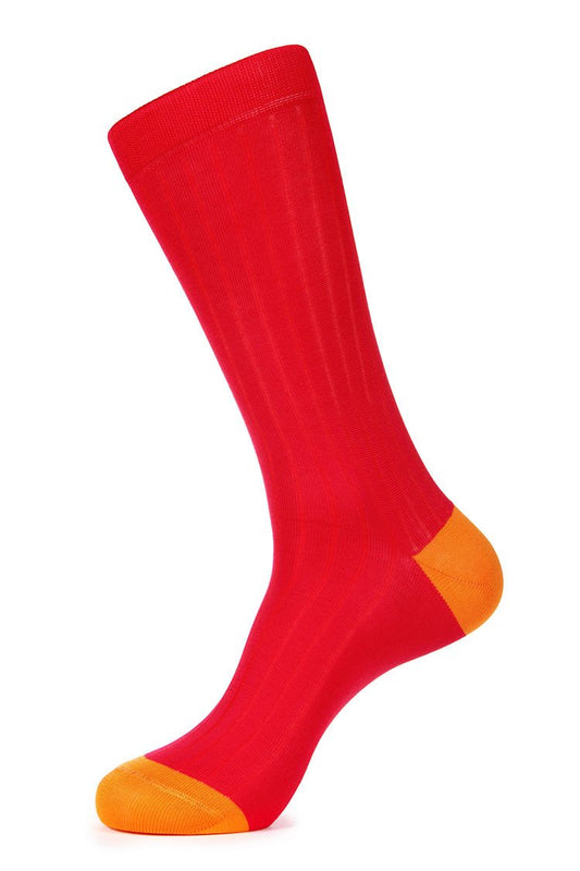 Red Mercerized Dress Socks for Men JL-7040-3 - Jared Lang