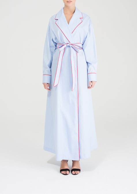 Dress - Belted Shirt Dress With Red Piping - 9104084362