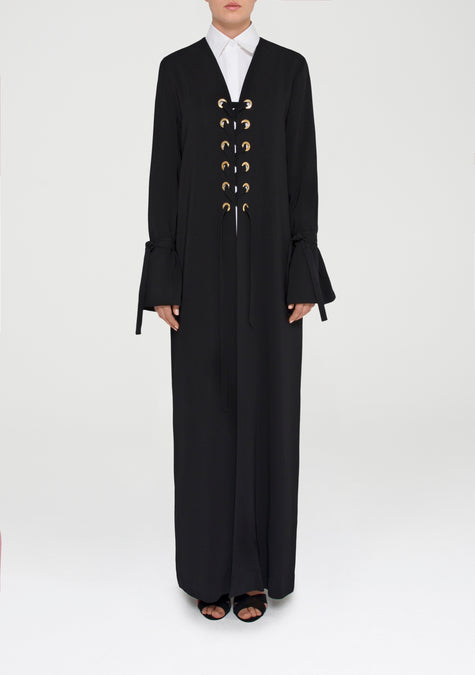 Abaya - Lace Up Minimal Long Cardigan - 11580882580