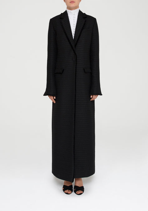 Abaya - Semi Fitted Tweed Long Blazer - 11580335380