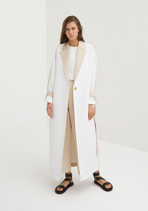 Abaya - Egg Shaped Contrasted Light Coat - 4350629249093