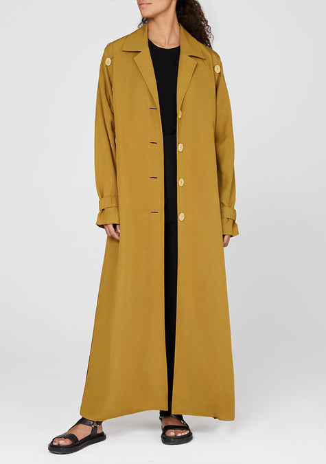 Abaya - Long Buttoned Down Trench - 4350644486213