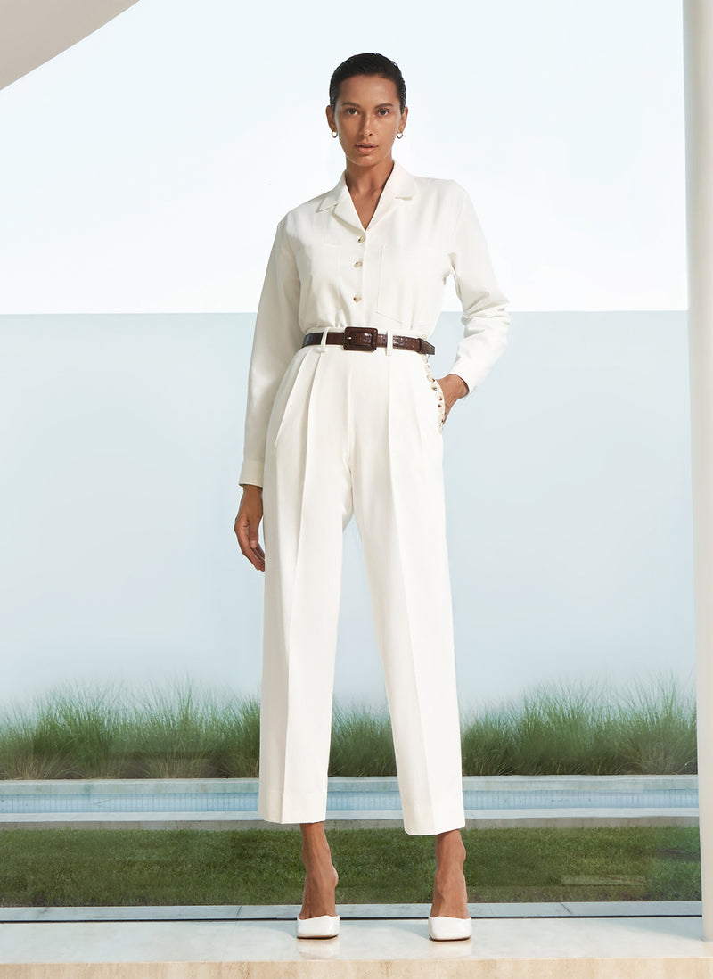 Addis Twill Cropped Pants in White