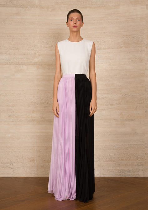 Skirt - Two-tone Pleated Chiffon Skirt - 4322659598405
