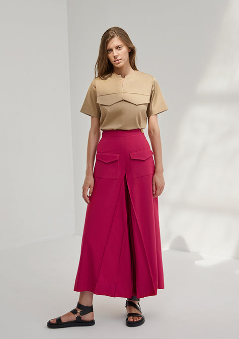 Skirt - Pleated Jupe Culotte - 4350648975429