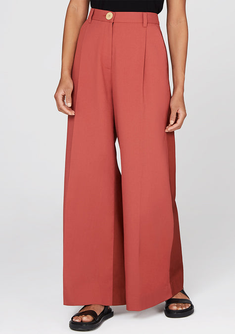 Pants - Two-tone High Waisted Wide Leg Pants - 4350811504709