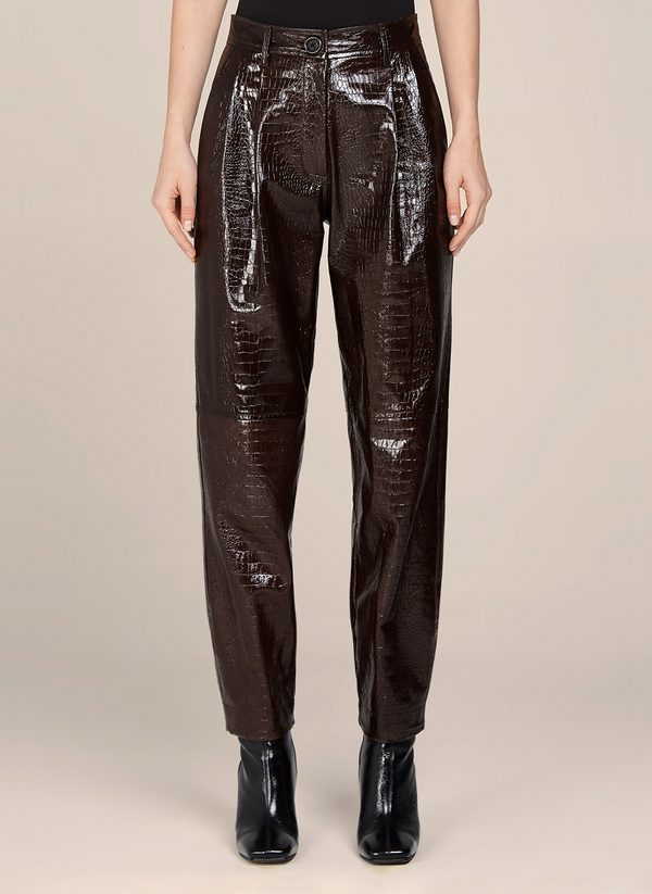 Diana Croc Embossed Leather Pants