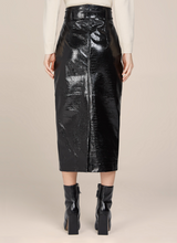 Diana Croc Embossed  Leather Pencil Skirt