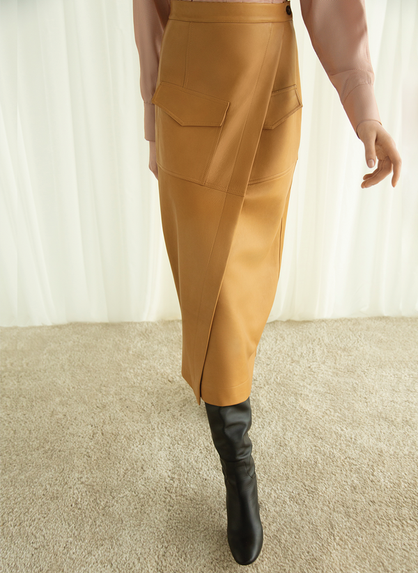 Leather Wrap Skirt