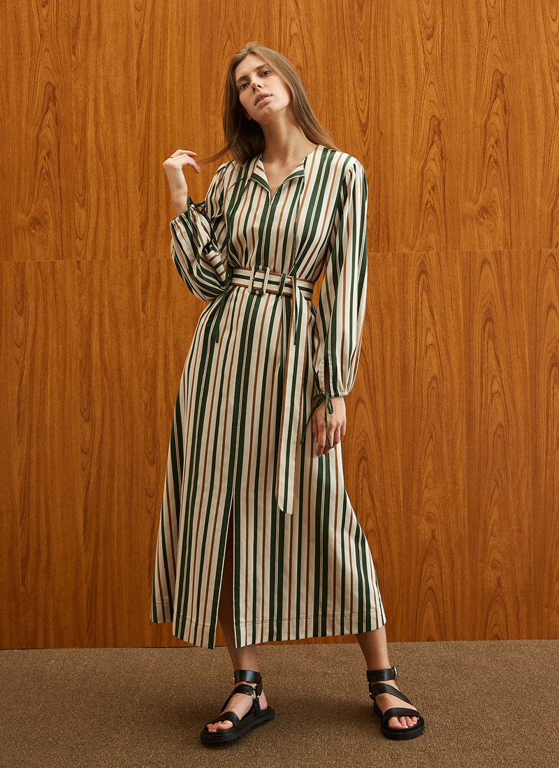 Striped Kaftan Dress
