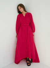 Flowy Puffed Sleeves Cotton Dress
