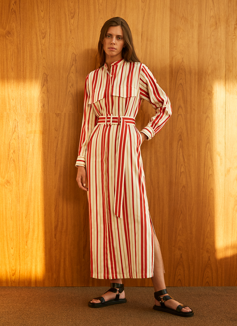 Striped Belted Shirt Dress