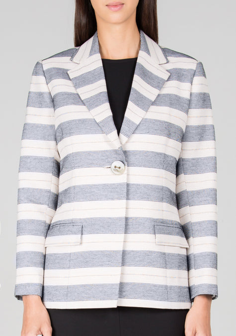 Jacket - Striped Blazer - 1300234436677