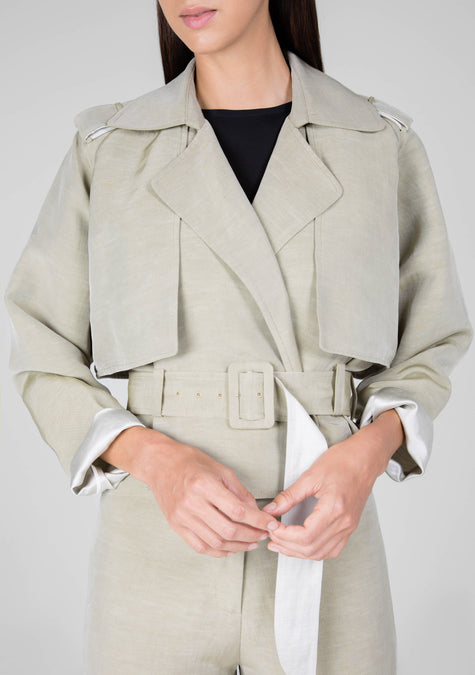 Jacket - Cropped Linen Trench - 1307856830533