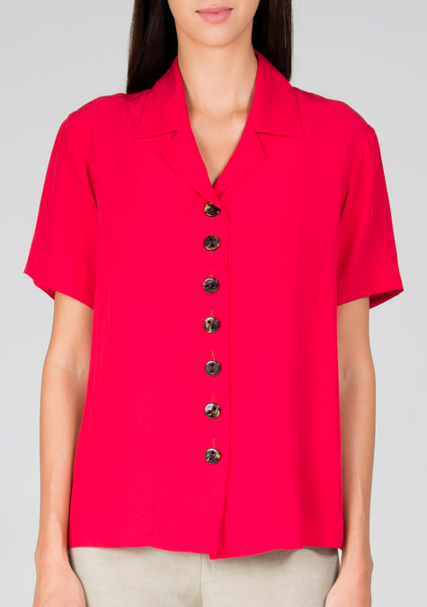 Top - Crepe Buttoned Shirt - 1313772306501