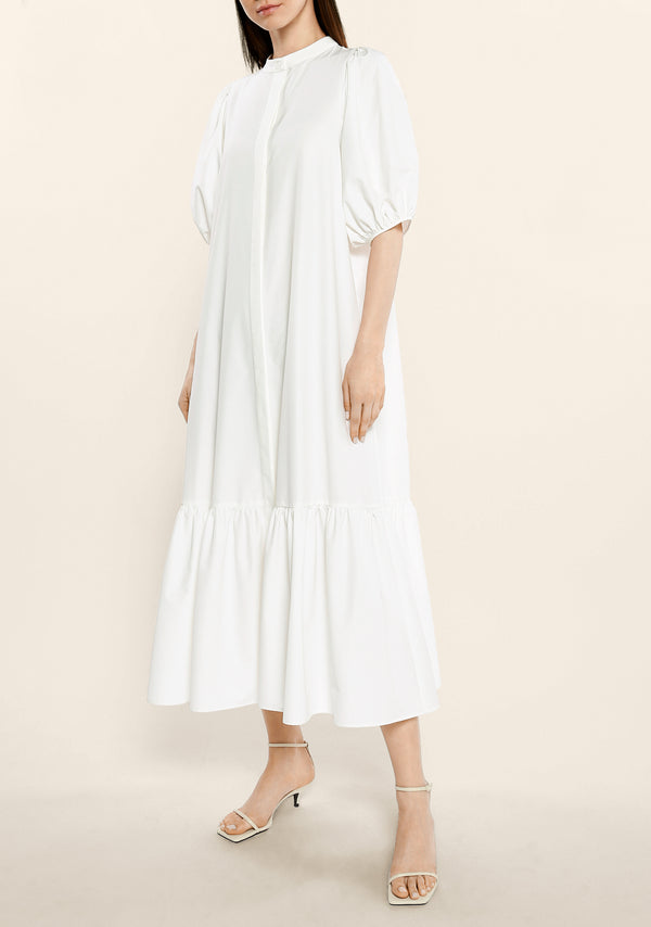 Cotton Puffed Sleeves Shirt Dress