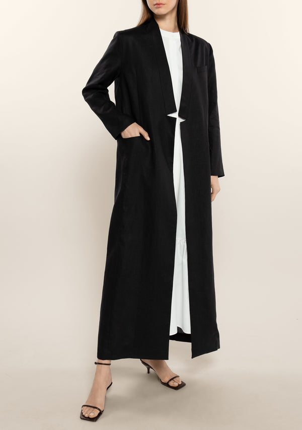 Graphic Collar Linen Long Jacket