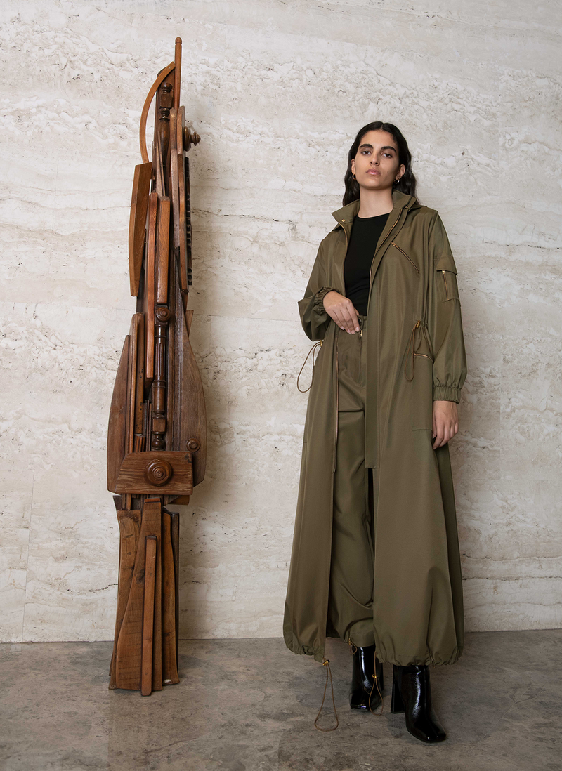 Nadjat Hooded Long Raincoat