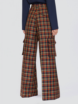 Checked Flaired Pants