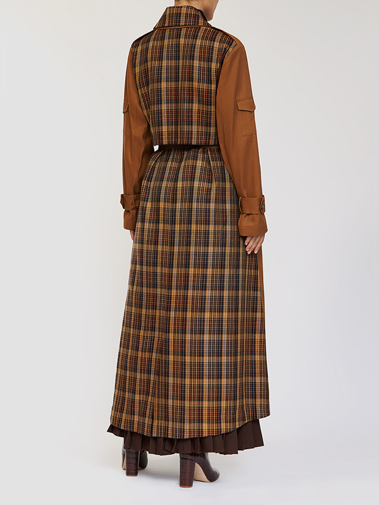 Checked Two Tone Long Trench