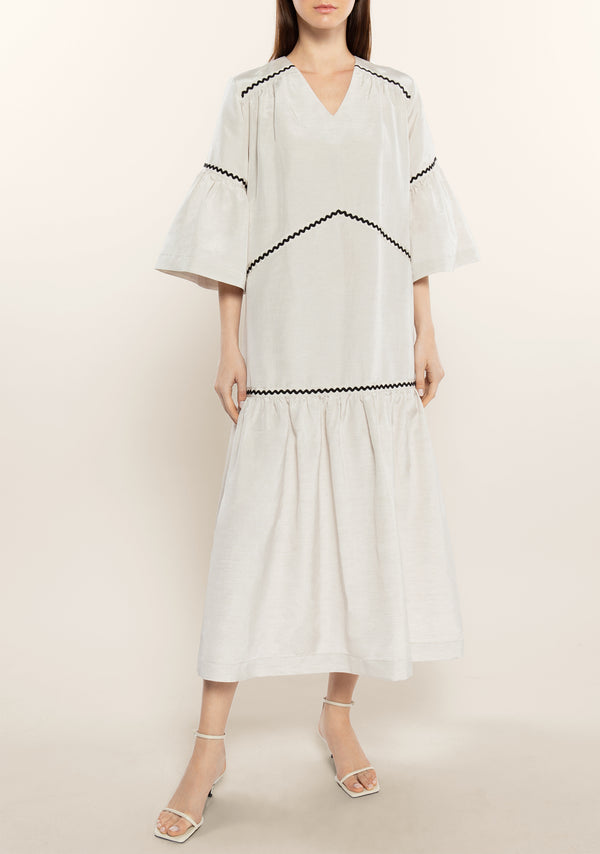 Contrasted Ruffle Kaftan Dress