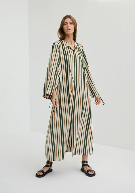 Dress - Striped Kaftan Dress - 4350644879429