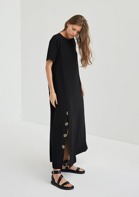 Dress - A-line Crepe T-shirt Dress - 4350645076037