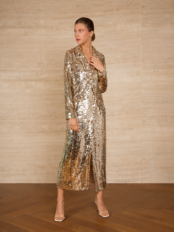 Sequins Long Jacket Dress