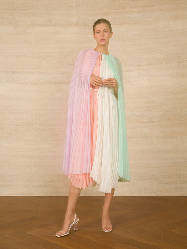 Cape Pleated Chiffon Dress