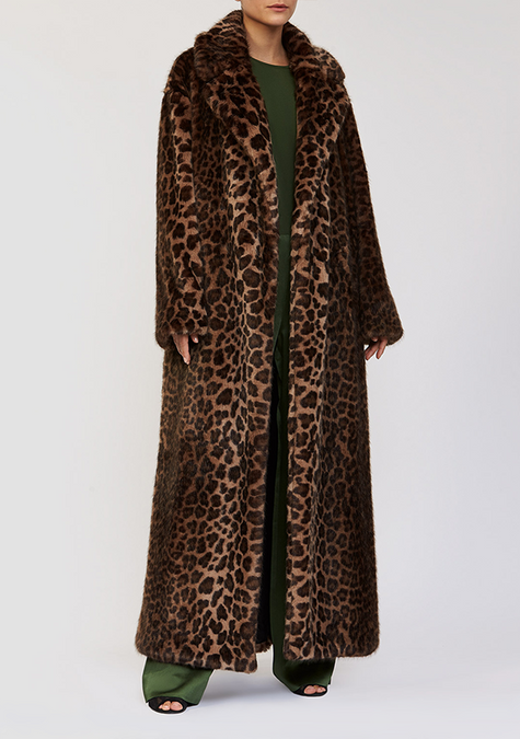 Abaya - Faux Fur Leopard Long Coat - 3926419734597