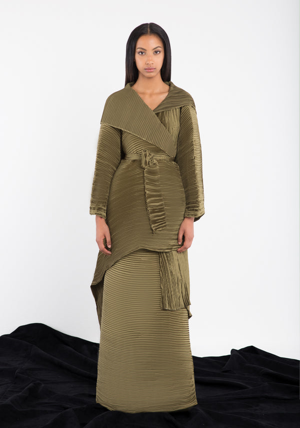 Asymetric Pleated Abaya