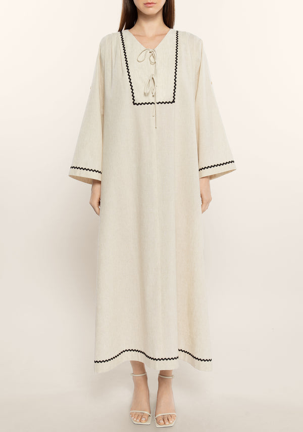 Linen Contrasted Kaftan Dress
