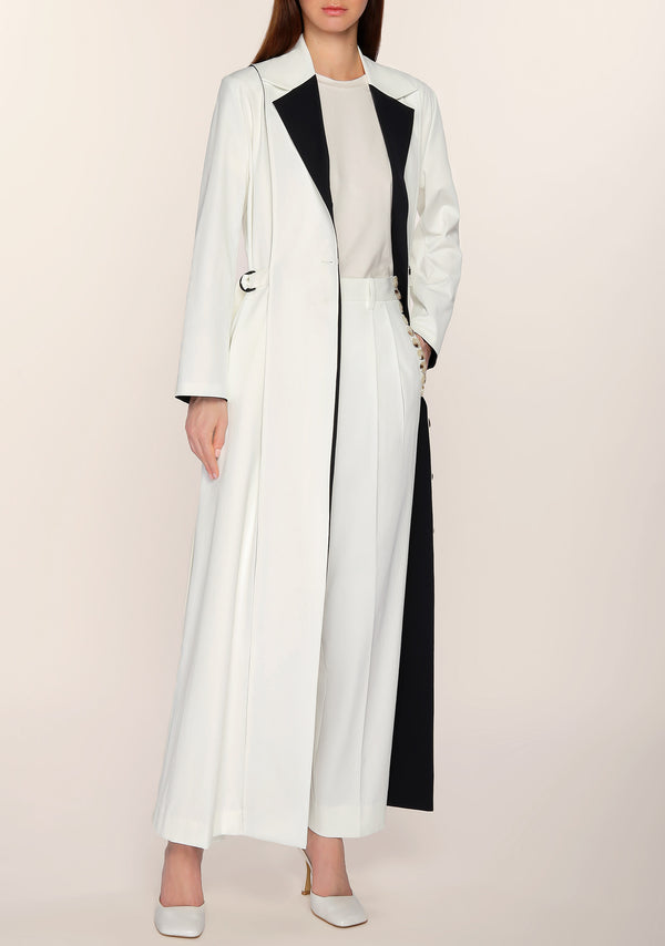 Addis Contrasted Long Jacket in White/Black