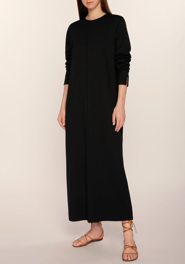Nouf Long Sleeves Minimal Dress in Black