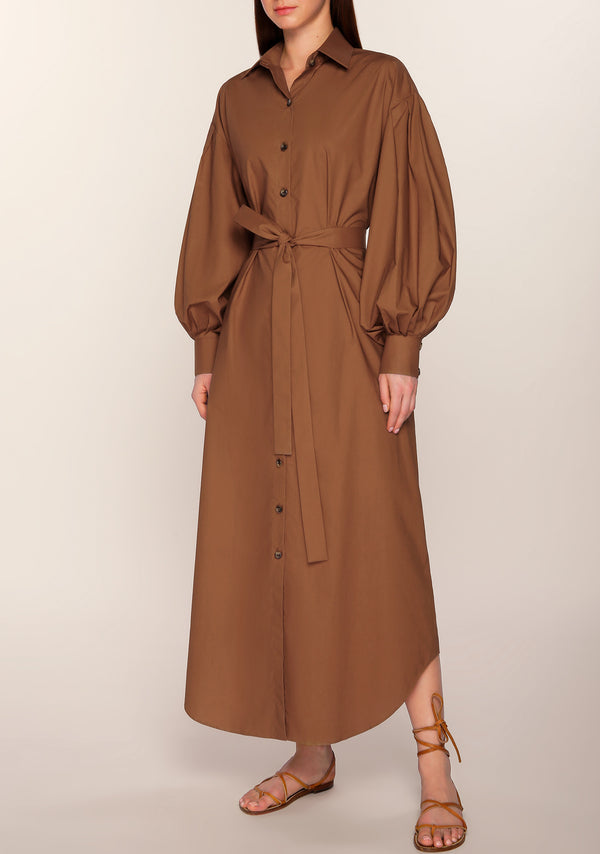 Hind Puffed Sleeves Shirt Dress