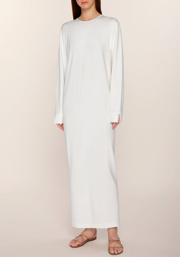 Nouf Long Sleeves Minimal Dress in White