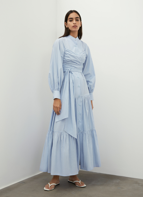 Puff Sleeves Belted Dress