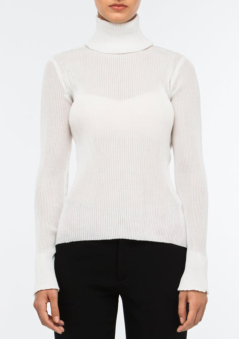 Top - Ribbed Turtleneck Top - 1503865405509