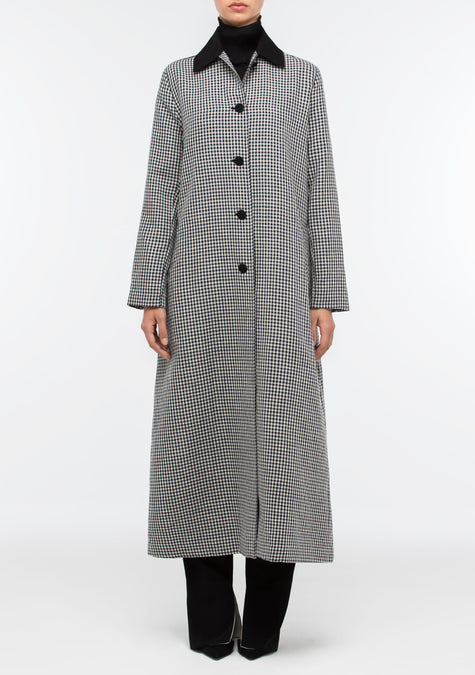Abaya - A-Line Gingham Long Trench - 1500104753221