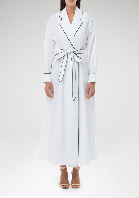 Dress - Belted Cotton Dress - 1303442030661
