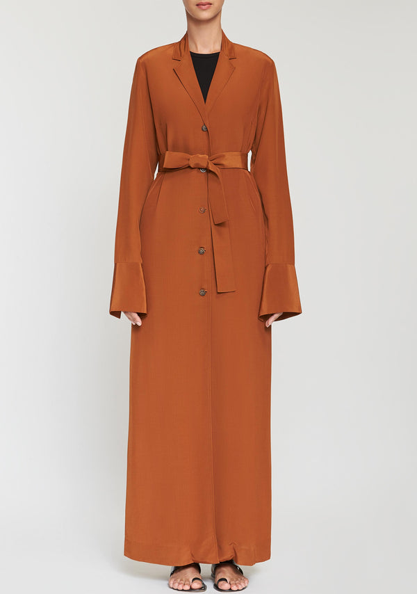 Crepe Belted Long Jacket