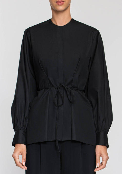 Top - Puffed Sleeves Belted Shirt - 2003941064773