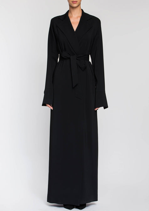 Dress - Crepe Belted Robe Dress - 2002639487045