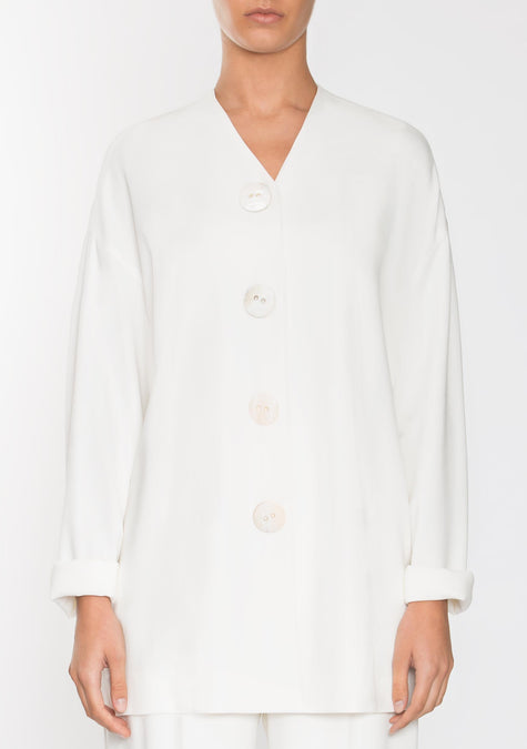 Top - Buttoned Down Crepe Cardigan - 1945198198853