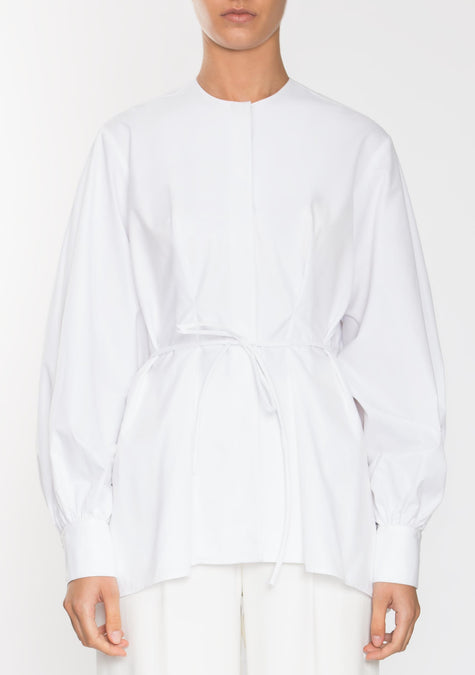 Top - Puffed Sleeves Belted Shirt - 1945225560133